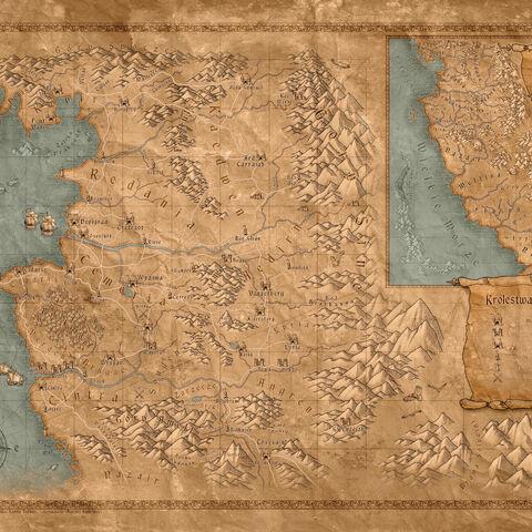 Mapa Świata stworzona przez CD Projekt RED z gry komputerowej <a href=