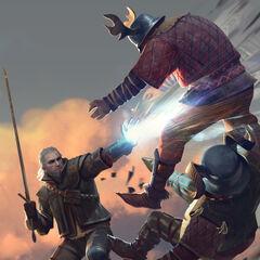 Geralt wykonujący <a href=