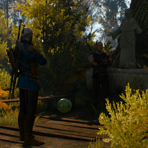 Geralt słuchający Gaetana