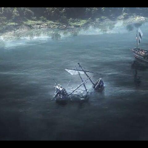 Statek króla Demawenda na rzece Pontar