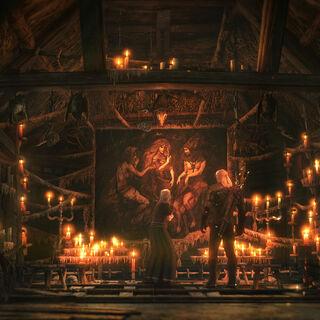 Geralt i Anna przy Gobelinie Wiedźm