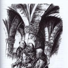 Eist (drugi od lewej) na zamku cintryjskim