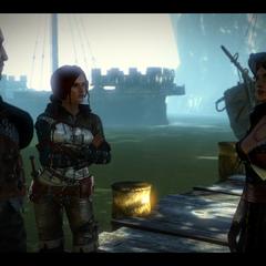 Sheala, Geralt i Triss we Flotsam