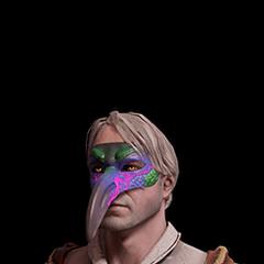 Skórka Geralta w masce papugi