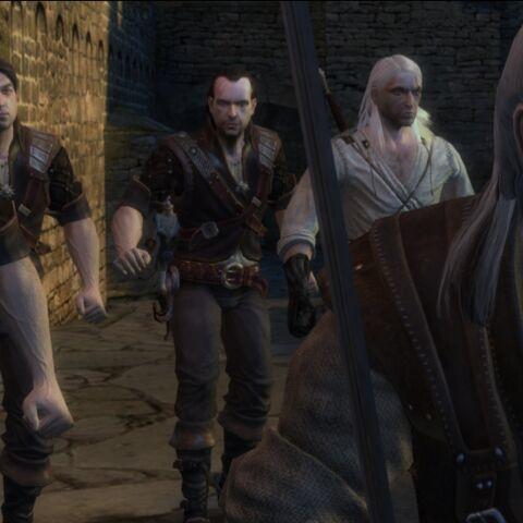 Od lewej: Leo, Eskel, Lambert, Geralt oraz Vesemir w grze Wiedźmin