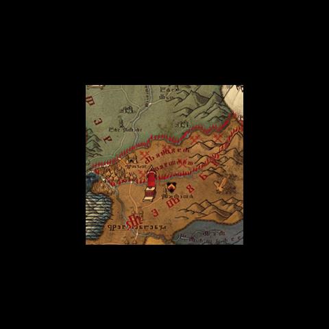 Mapa Królestwa z oznaczonym Górnym Aedirn