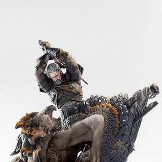 Figurka kolekcjonerska przedstawiająca walkę Geralta z gryfem