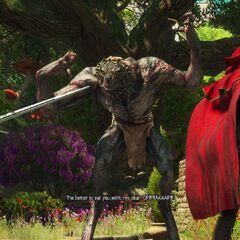 Syanna i Geralt walczący z Wielkim Złym Wilkiem