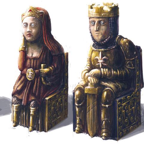 Figury szachowe przedstawiające (od lewej): wielkiego mistrza Zakonu Płonącej Róży <strong class=