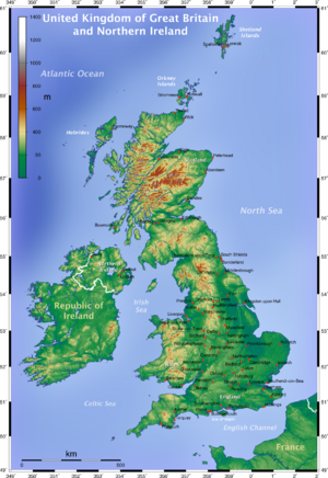 Topographic Map of the UK - English