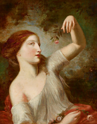 Natoire-Eine junge Frau mit Rosen