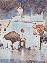 Kościół św. Wojciecha na Rynku Głównym jasną miejską nocą