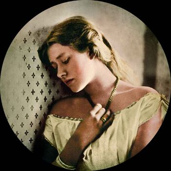 Ellen Terry at age 16 by Julia Margaret Cameron (coloured)