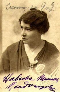 Helena Mniszkówna, portrait with signature