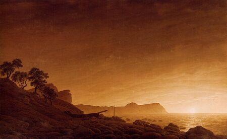 Vue d'Arkona - Sepia de Caspar David Friedrich