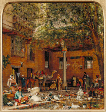 John Frederick Lewis - Study for 'The Courtyard of the Coptic Patriarch's House in Cairo' - Google Art Project