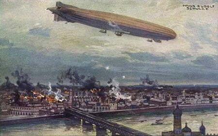 German airship bombing Warsaw