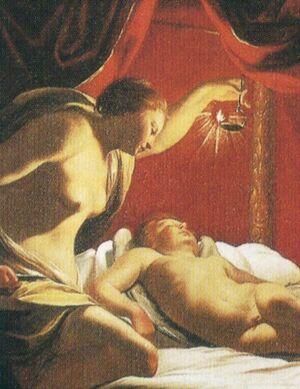 Bartolomeo Vivarini - Psyche betrachtet den schlafenden Amor - Detail