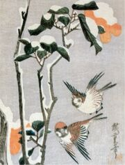 Sparrows and camellia in snow by Ando Hiroshige (1797-1858)