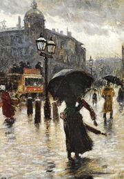 Paul Gustav Fisher - Rainy day at National Scala near Frihedsstøtten (the Column of Freedom)