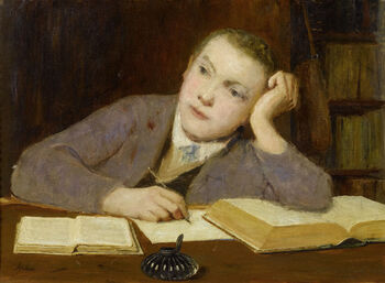 Albert Anker Schreibender Knabe c1908