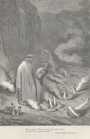 Inferno Canto 19 verses 10-11