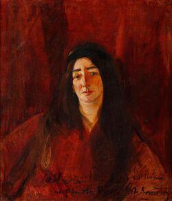 Konrad Krzyżanowski - Portret kobiety w czerwieni (Maria Grossek-Korycka, 1916)