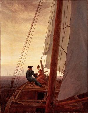 On a Sailing Ship by Caspar David Friedrich