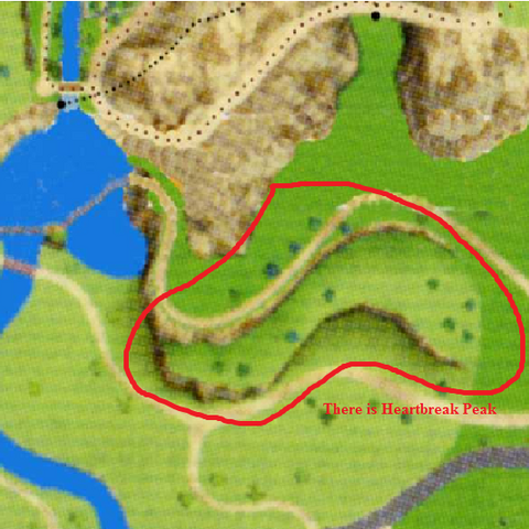Heartbreak Peak on a map.