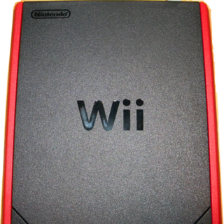 A top view of the Wii Mini.