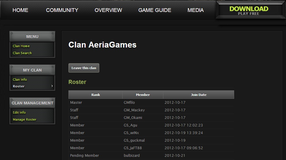 Clan Roster