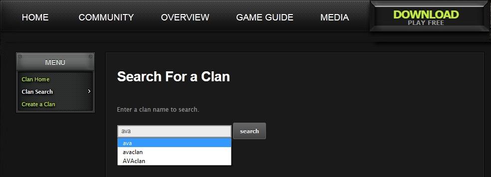 Clan search