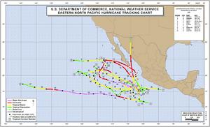 1995 Pacific hurricane season map