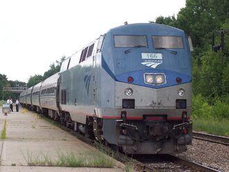 Amtrak GE Genesis P42 166 at Saratoga Springs