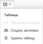 Заголовок таблицы Визуальный редактор
