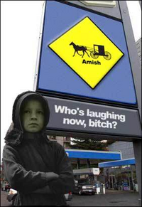 Amish Girl at Gas Pump