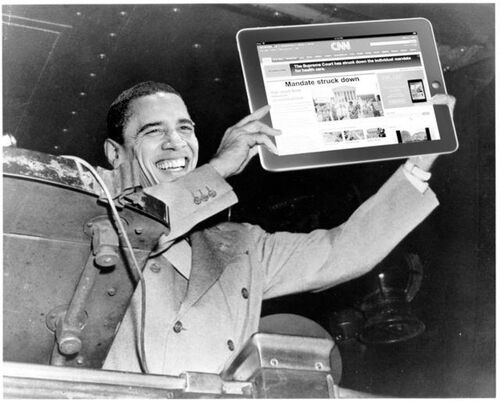 CNN (Obamacare photoshop bw Dewey defeats Truman)