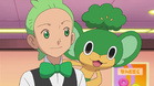Cilan with Pansage on his shoulders