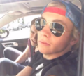 Tristan in the car