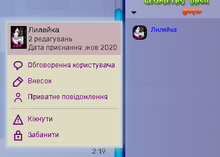Вікно користувача чату