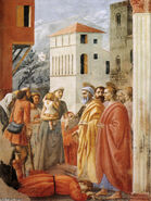 Distribution of Alms and Death of Ananias, 1425 by Masaccio
