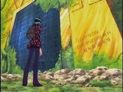 Nico robin leyendo el poneglyph que habia en skypiea