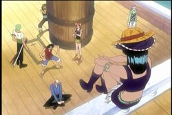 Nico robin aparenciendo por 1ª vez frente a los mugiwaras