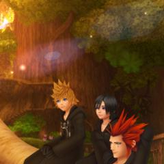 Axel, Roxas y Xion en Destiny Islands