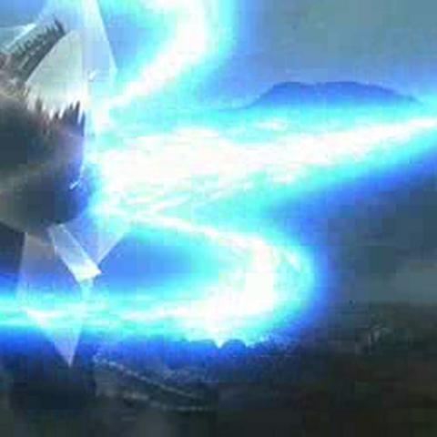 <b>Female SpaceGodzilla</b> blocking a Gojiran's atomic breath.