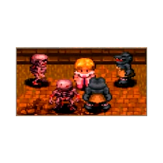 A group of Skeleton and Lizardman surround Cecilia at the entrance of Adlehyde Castle