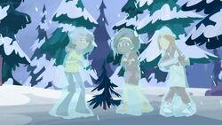 Aviva, Koki and Jimmy frozen in solid ice