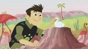 Chris pets Pinkster