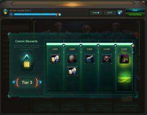 Cosmic Rewards table