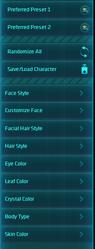WildStar character customization UI 1